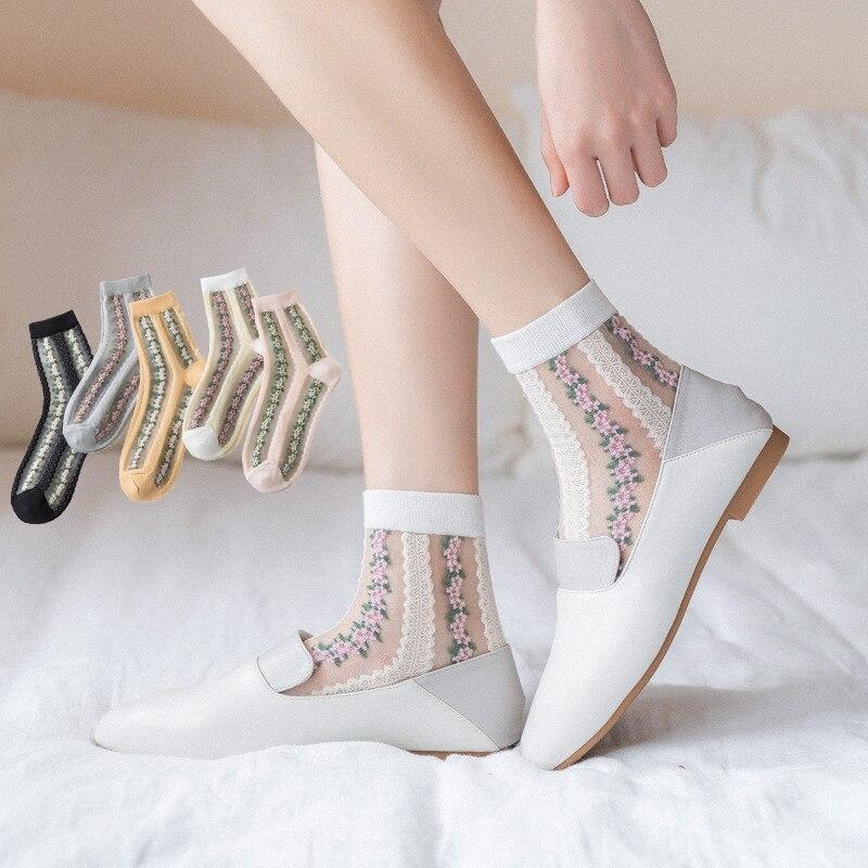 Colorful Striped Daisy Sheer Tulle Socks Women Floral Ruffle White Silk Glass Socks Lace Elastic Ultra Embroid Mesh Nylon Socks