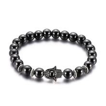 Hot Sale Weight Loss Beads Mens Bracelets Bangles Black Natural Stone Bead Elastic Beaded Bracelet for Men Women Jewelry Gifts