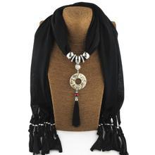 Jzhifiyer feminino inverno jewellery pendant scarfs hijab plain muffler polyester scarf ladies ponchos luxury brand