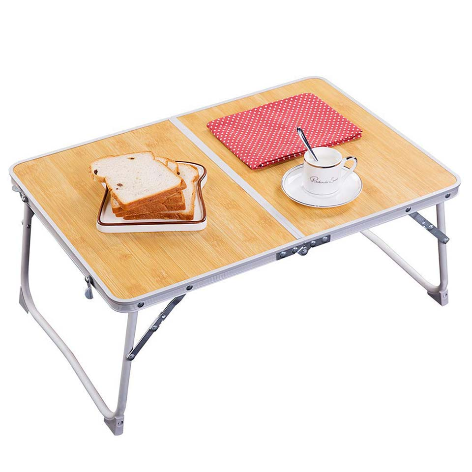 Foldable Laptop Table Leg-Bamboo Wood Grain Lapdesk Breakfast Bed Serving Tray Portable Picnic Desk Notebook Stand Reading Holde