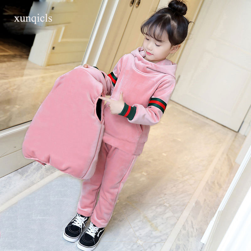 Kids Winter Clothes Girls Clothing Sets Children Waistcoat+ Hoodies+ Pants 3pc Girl Warm Pleuche Outfits Thicken Baby Suits