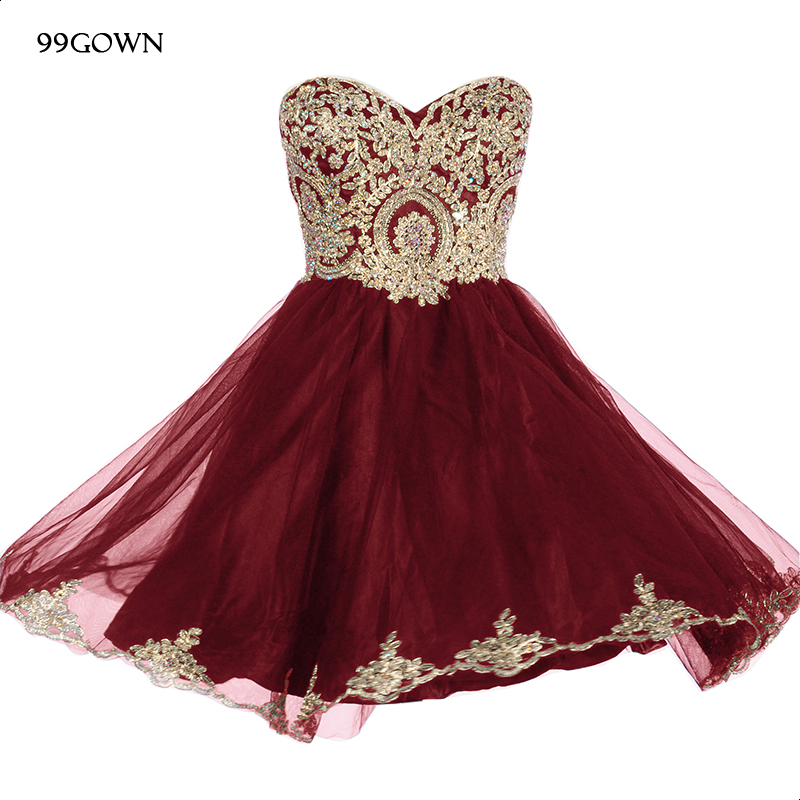 99GOWN Organza Wedding Ball Gown For Bridesmaid Luxury Embroidery Beading Strapless Mini Dress Wedding Guest Wedding Party