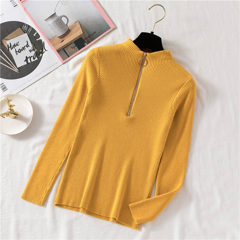Sueter mujer invierno 2019 Autumn Winter Women Sweaters and Pullovers Turtleneck Long Sleeve Solid Knitting pull femme