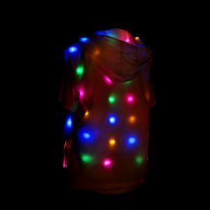 Image 3 - LED ملابس للحفلات متوهجة وامض أضواء أكمام جيوب مقنعين غير رسمية سترة سترة معطف ازياء مجموعة الوالدين والطفل الملابس