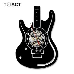 Виниловые настенные часы на гитаре, светящийся музыкальный инструмент, CD LED часы, домашний декор, бесшумные Висячие Часы для музыки, подарок ...