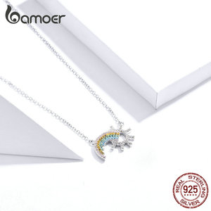 Image 3 - BAMOER colgante de plata de ley 925 con diseño de sol, joyería de boda de 45CM SCN366