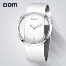 DOM Women Fashion Red Quartz Watch Lady Leather Watchband High Quality Casual Waterproof Wristwatch Female Elegant Watch LP-205