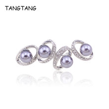 TANGTANG New Brooch For Women Simulated Grey Pearl Brooch Silver Colour Brooches Unique Jewelry Gift Female Ornament Accessories