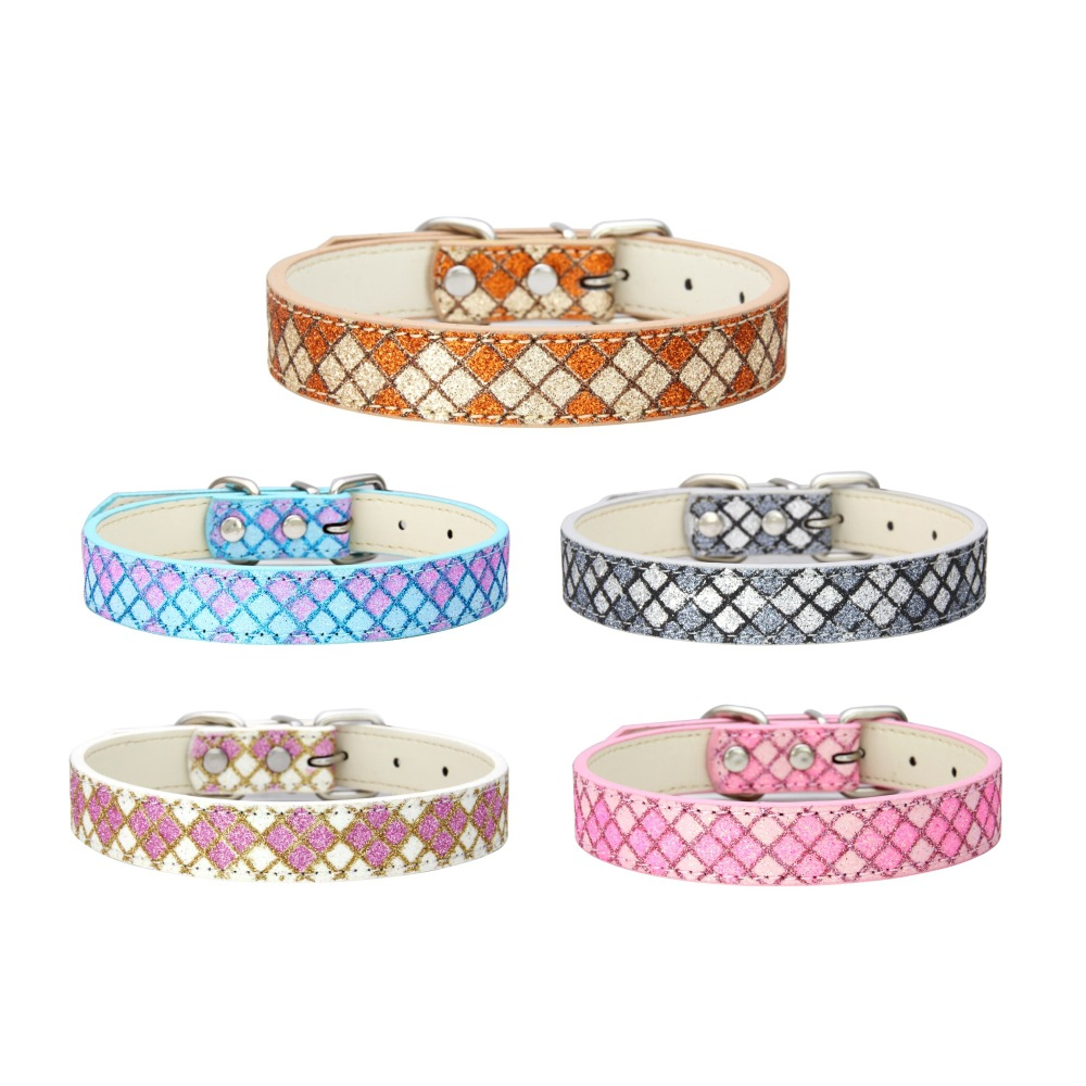Hot Selling A Generation Of Fat Pet Collar Supplies Manufacturers Direct Selling Plaid Glittering Powder Pu Hand Holding Rope Do