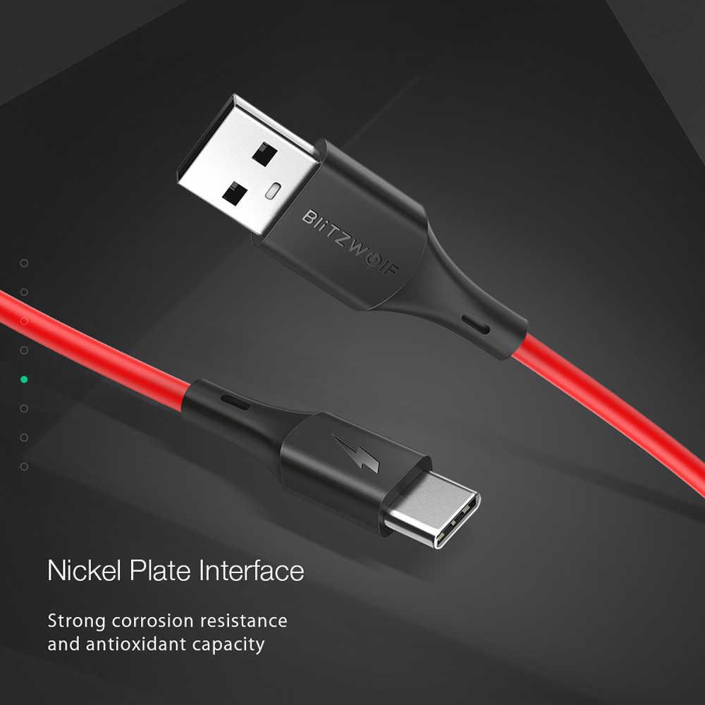 BlitzWolf 3A USB نوع-C سريع شحن كابل بيانات 3ft/0.9m ل ممن لهم Oneplus 7 Xiaomi Mi9 ل هواوي P20 P30 برو شاحن يو اس بي الحبل