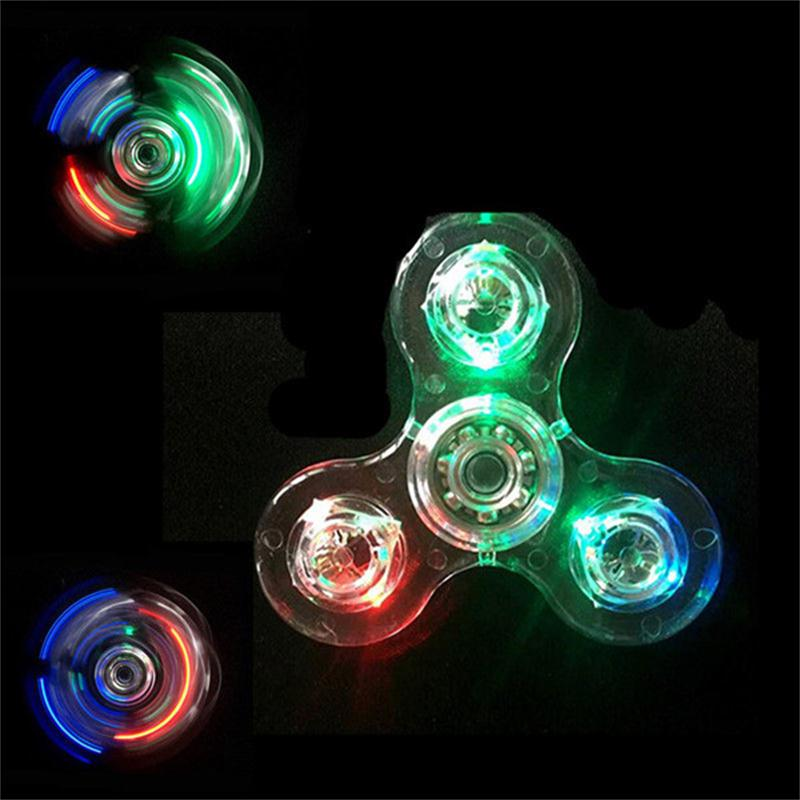 Fidget Hand Spinner Finger Spinner Toy Focus Tri Spinner Fingertip Gyro Transparent Flash LED Flash Reduce Stress Gift Plastic