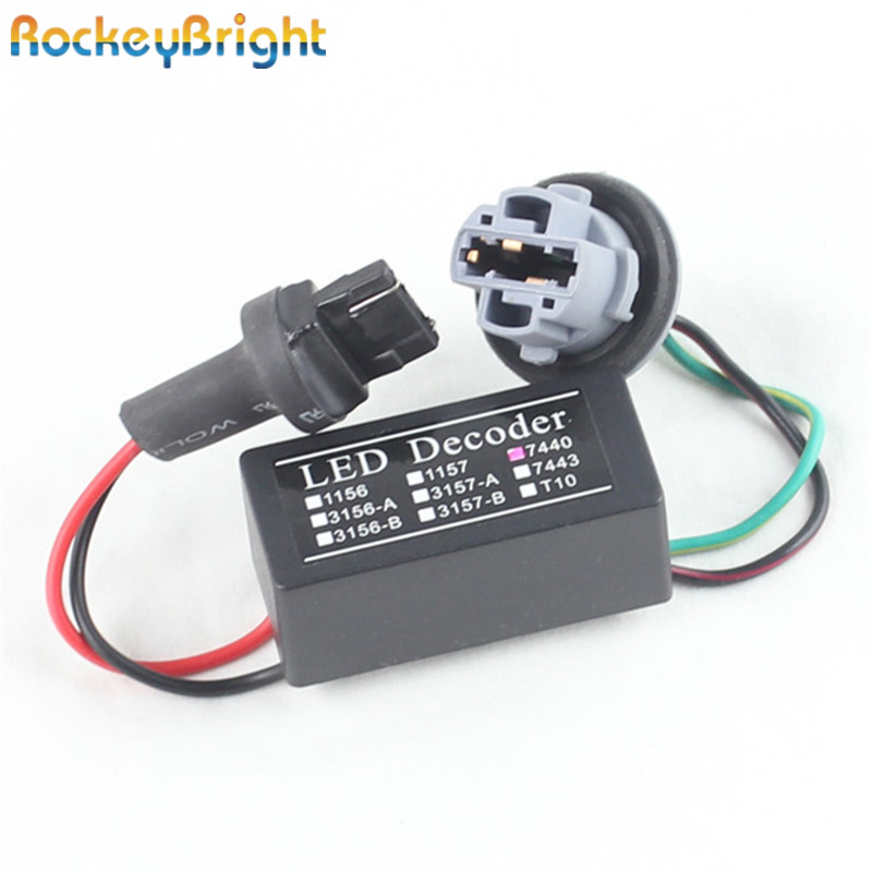 Rockeybright T20 7440 7443 LED Canceller Decoder Resistor 7440 Warning Flashing Canceller Adapter For European Car Lights 7440