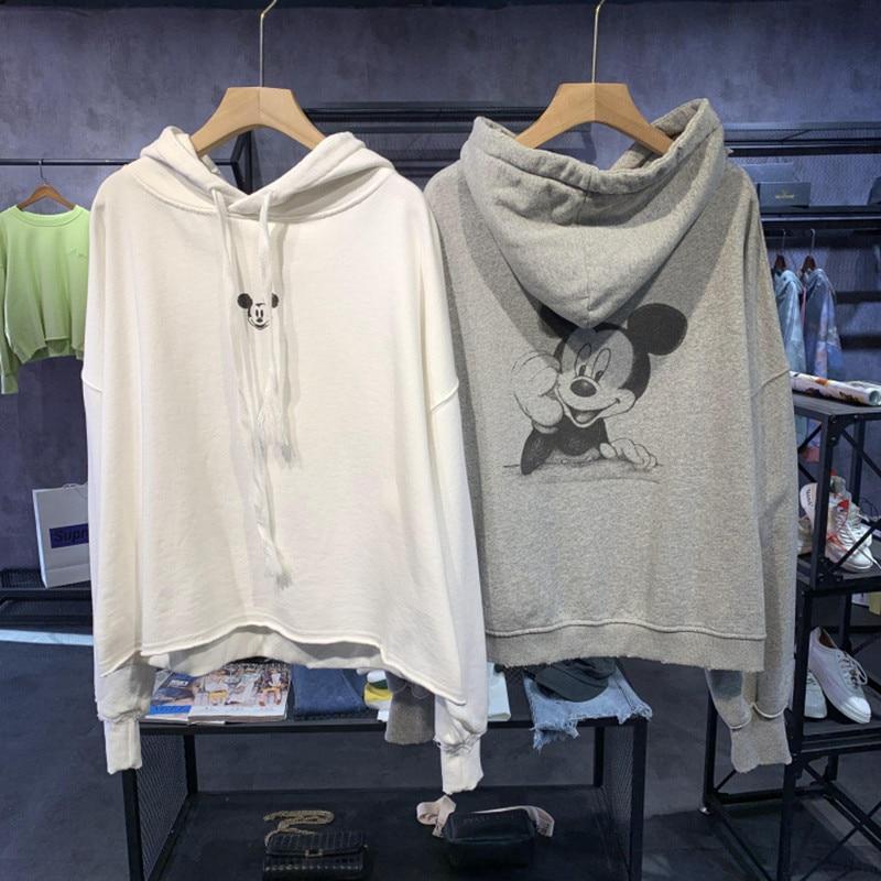 2020 Spring New Style Korean-style Hoodies Women's Hooded Cartoon Printed Mouse Versatile Loose-Fit Hoodie Tops Sweatshirt