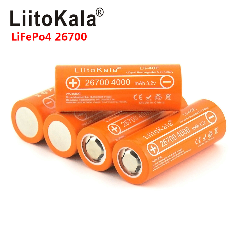 2020 LiitoKala Lii-40E Lifepo4 26700 3.2v 4000mah Rechargeable Battery Lithium Cell High Capacity 10A Pilas Diy Pack Mod Toys