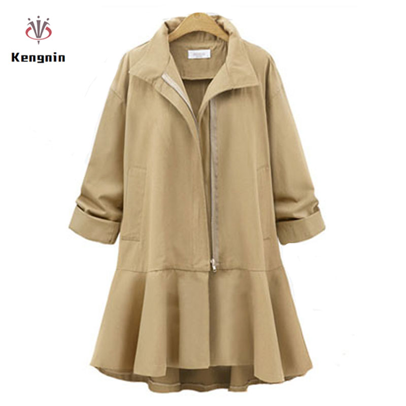 2019 Autumn European Style Plus Size 4XL,5XL Loose Casual Female   Trench   Coats Elegant Skirt Ladies Cardigans Long Outerwear