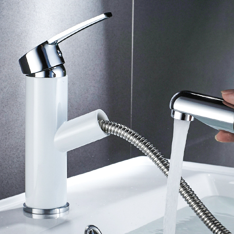 Copper Pulling Basin Faucet Hot And Cold Mixing Water Single Handle Basin Faucet Sanitary Ware Hot Sales