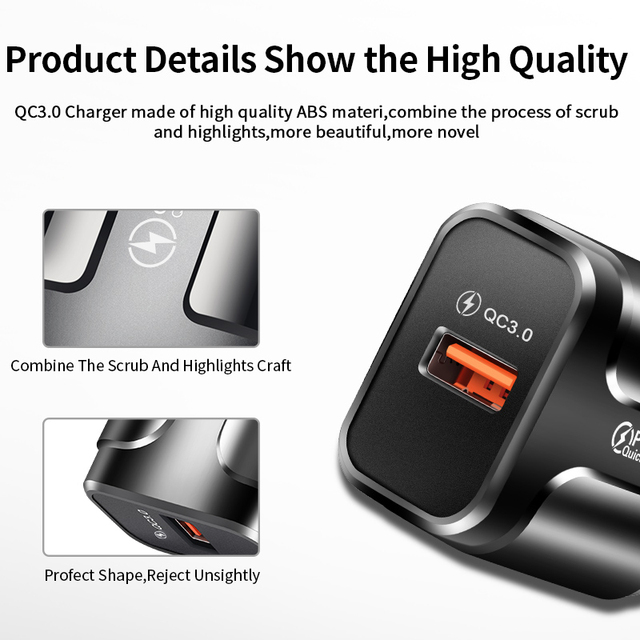 USLION Quick Charge QC 3.0 USB US EU Charger Universal Mobile Phone Charger Wall Fast Charging Adapter For iPhone Samsung Xiaomi 4