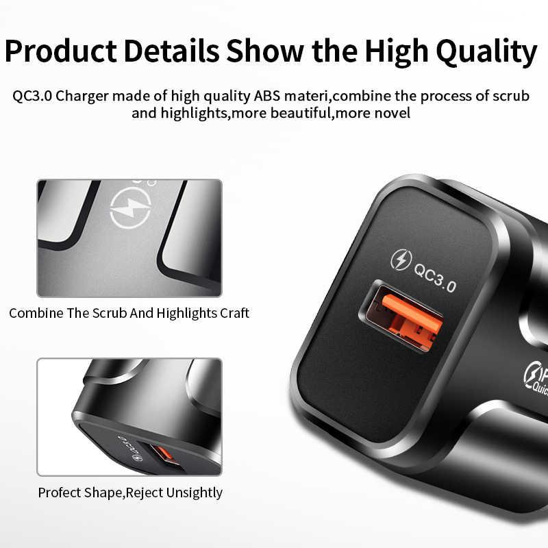 USLION szybkie ładowanie QC 3.0 USB z nami ładowarka eu uniwersalny ładowarka do telefonu komórkowego ściany kabel do szybkiego ładowania dla iPhone Samsung Xiaomi