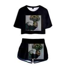 Novelty Ariana Grande Two Piece Set+Short Pants Summer Trendy Women Tshirt Dew navel t-shirt Girl Leisure Sets girl Clothes