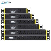 PDU 1U Network Cabinet Rack Power Strip Distribution Universal Outlets Break Switch EU/UK/US/AU Plug Socket 2m Extension Cord