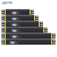 PDU 1U réseau armoire support multiprise Distribution prises universelles interrupteur de coupure ue/UK/US/AU prise de courant 2m rallonge