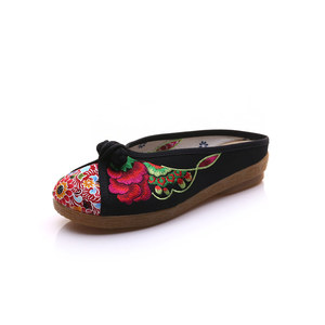 Image 5 - Veowalk pantoufles dété pour femme, chaussures de base plates et plates, broderie de fleurs, en coton, décontracté
