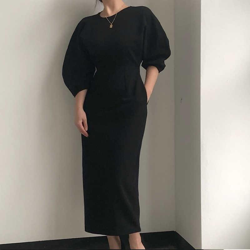 Elegante Dames Kantoor Jurk Mode Sexy Effen Kleur Jurk Vrouwen Slim Midi Dress Vestidos Ol