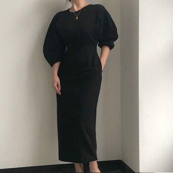 Elegante vestido de oficina para mujer, moda Sexy, Color sólido, vestido Midi...