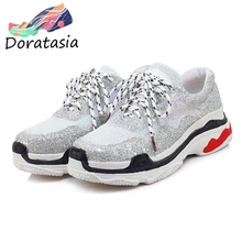 DORATASIA Autumn Plus Size 29-46 Dad Shoes Woman Shining Winter Add Fur Sneakers Women 2019 Platform Girl Fashion Flats