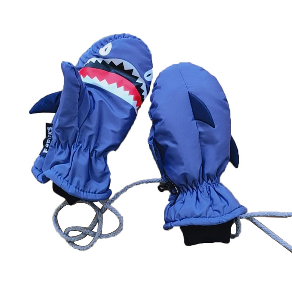 2 Pairs Kids Winter Shark Cartoon Glove Cute Ski Mittens Snow Gloves with String for Boys Girls
