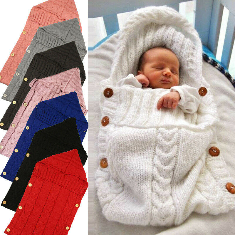 Newborn Infant Baby Blanket Knit Crochet Winter Warm Swaddle Wrap Sleeping Bags