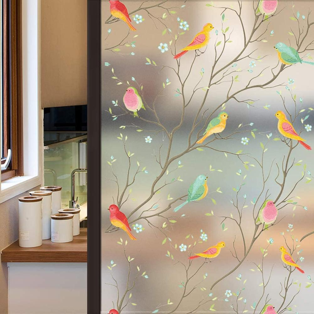 3D Matte Privacy Window Film Non-Adhesive Frosted Bird Decorative Vinyl Glass Film Static Cling Stained Window Stickers for Home
