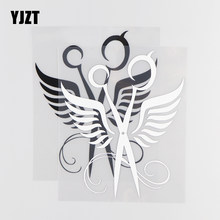 YJZT 13.5×16.2CM Art Wing Scissors Vinyl Decal Modified Fashion Car Stickers Black/Silver 20D-0020