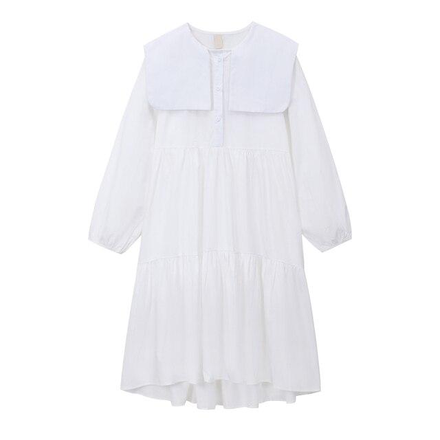 2020 Women Autumn Long Shirt Dresses Casual Loose Long Sleeve Fashion Elegant Office Lady Work Maxi Dresses Cotton Streetwear 3