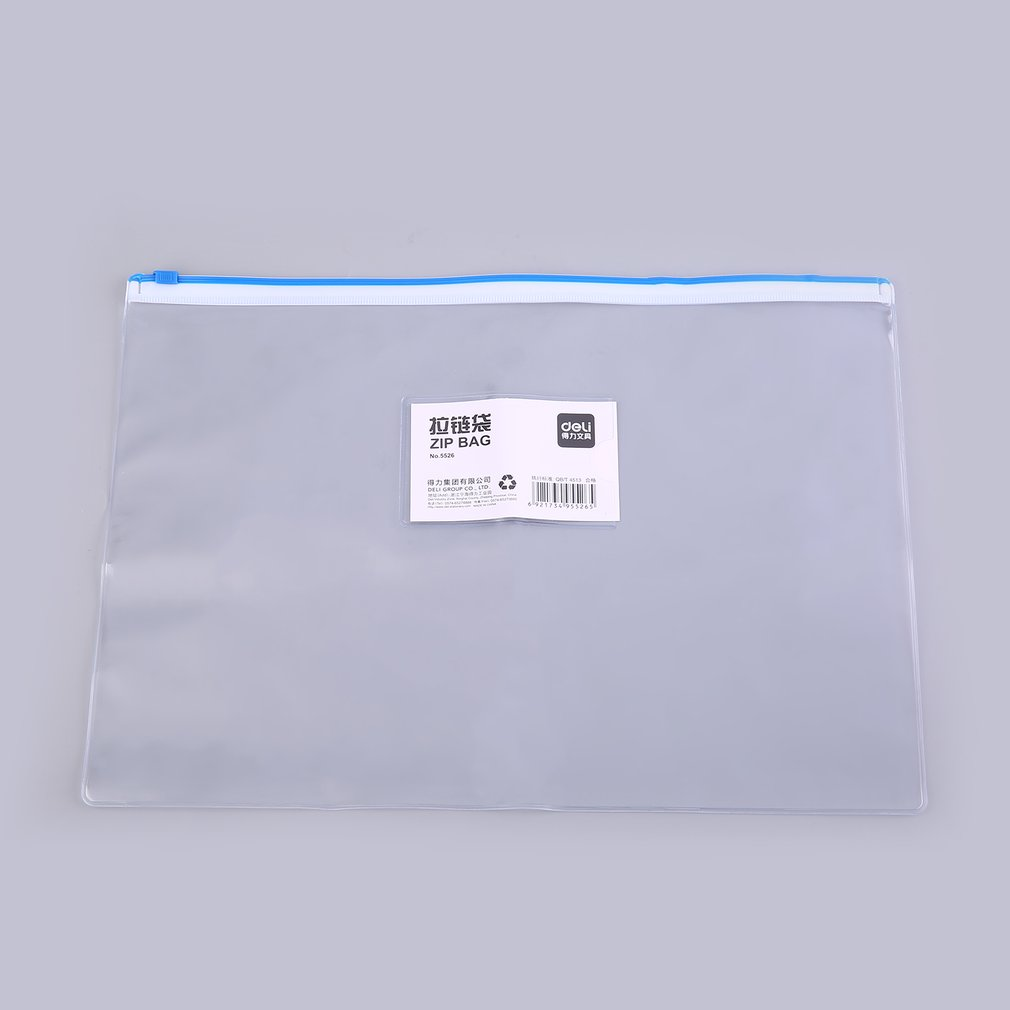 Deli 5526 Transparent PVC Zipper Bag Documents A4 File Cover Portable Document And Pen Organizer For Business And School