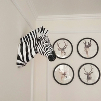 [Decor] Home Hotel Wall Hanging Decoration Sculpture Zebra Head Statue Resin Animal Statue Doll Art Craft Christmas