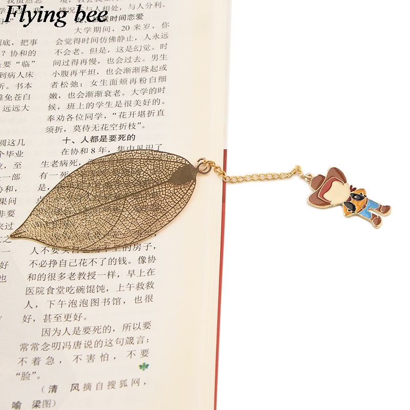 Flyingbee Leave Pendant Cartoon Boy Metal Bookmarks Cool Book Markers Page Holder For Books Stationery Gifts X0780