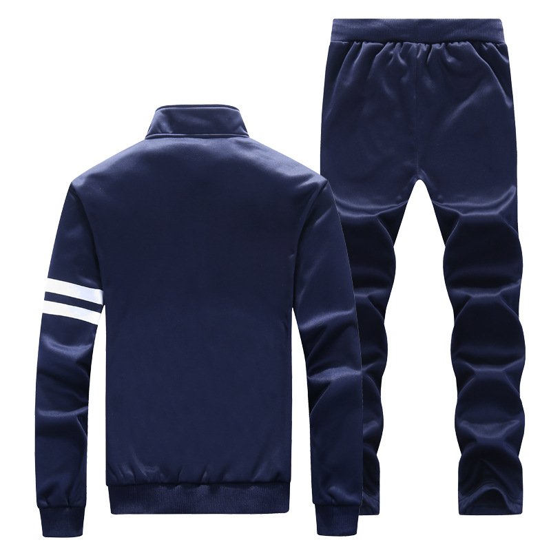 Spring And Autumn Stand Collar Slim Fit Cardigan Long-sleeved Coat Casual Sports Clothing Set Male Two-Piece Men'S Wear