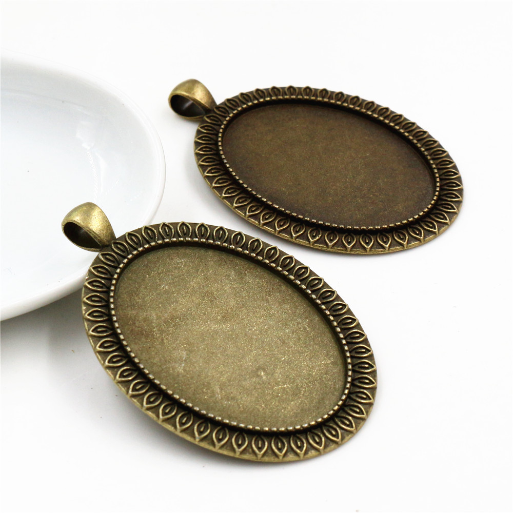 New Fashion  5pcs 30x40mm Inner Size Antique Bronze Classic Style Cabochon Base Setting Charms Pendant (B1-36)