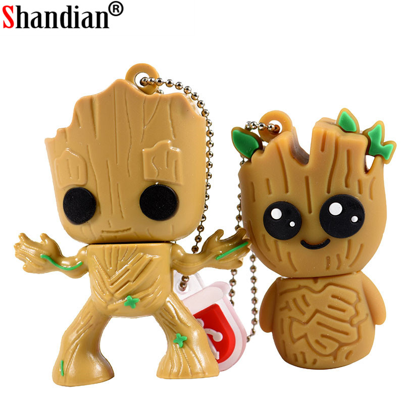SHNADIAN Lovely Cartoon Groot Usb Flash Drive Disk Super Heros Memory Stick Pen Drive 4gb 8gb 16gb 32gb 64gb Creative Pendrive