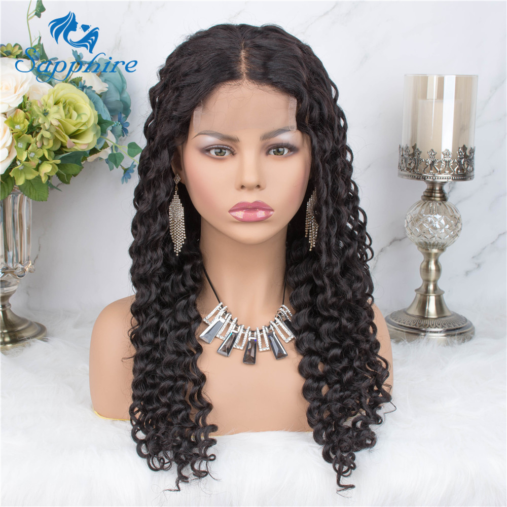 Sapphire Curly 4*4 Brazilian Lace Closure Human Hair Wigs With Baby Hair Deep Curly Lace Wigs Pre Plucked Bleached Knots
