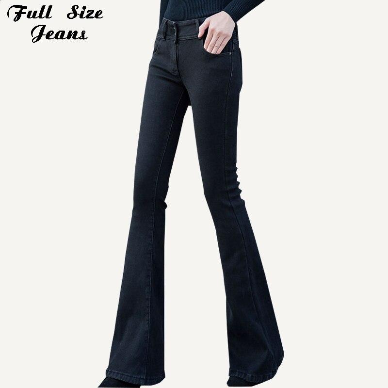 Plus Size Extra Long Black Flare Jeans Pants 2XL Women Vintage Mid Waist Wide Leg Sexy Bell-Bottom Long Denim Trousers