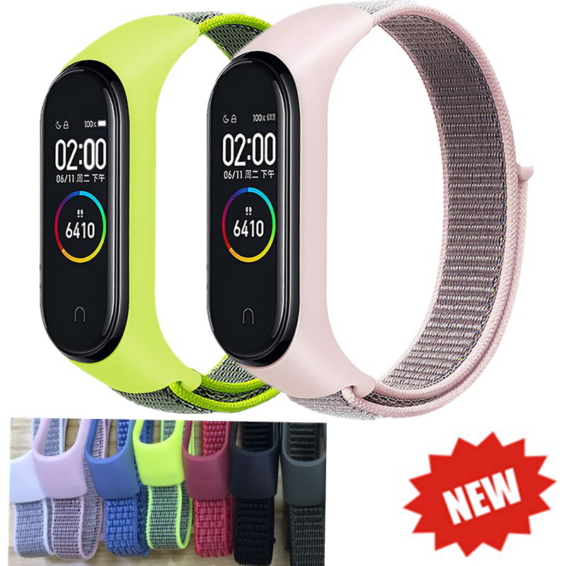 OLLIVAN New Stick Nylon Loop Wrist Strap For Xiaomi Mi Band 4 3 Bracelet Sport Loop Watchband For MiBand 3 4 Breathable Band4