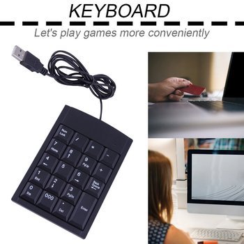 Hot High Quality 1pc mini USB Wired Numeric Keyboard Keypad Adapter 19 Keys for Laptop PC Black Newest