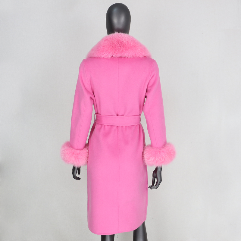 Hc8549aa739254d0492a4ddcbf3b292dfT 2021X-Long Natural Mongolia Sheep Real Fur Coat Autumn Winter Jacket Women Double Breasted Belt Wool Blends Overcoat Streetwea