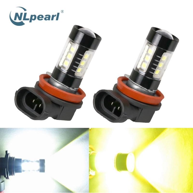NLpearl 2x Car Fog Lamp H8 H11 LED 3000K 6000K H16 H10 H1 H3 H7 Driving Running Light HB3 9005 9006 HB4 H11 LED Fog Light Bulb