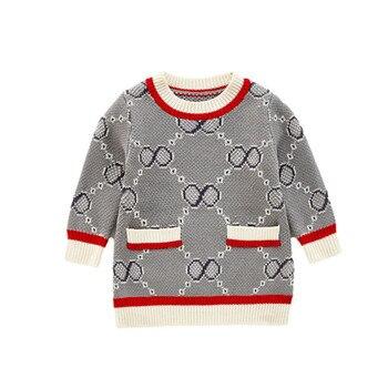 2020 Otoño e Invierno vestido holgado de punto con bolsillos de imitación de ganchillo para niñas