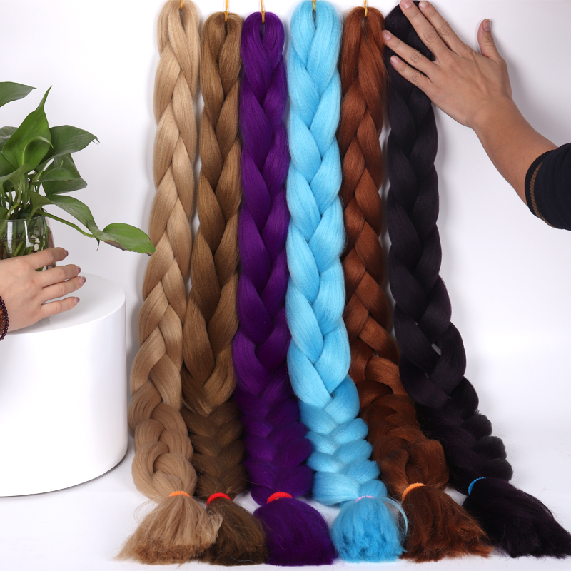 165g / Braided Hair African Big Braid One 82 Inch Synthetic Thermal Fiber Braiding Hair Solid Color Crocheted Oversized Braid