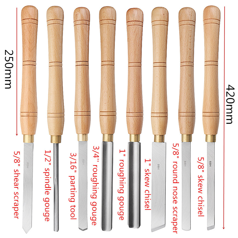 8 Types High Speed Steel Lathe Chisel Wood Turning Tool With Wood Handle Woodworking Tool Fit For Turning Shapes On Wood Lathe