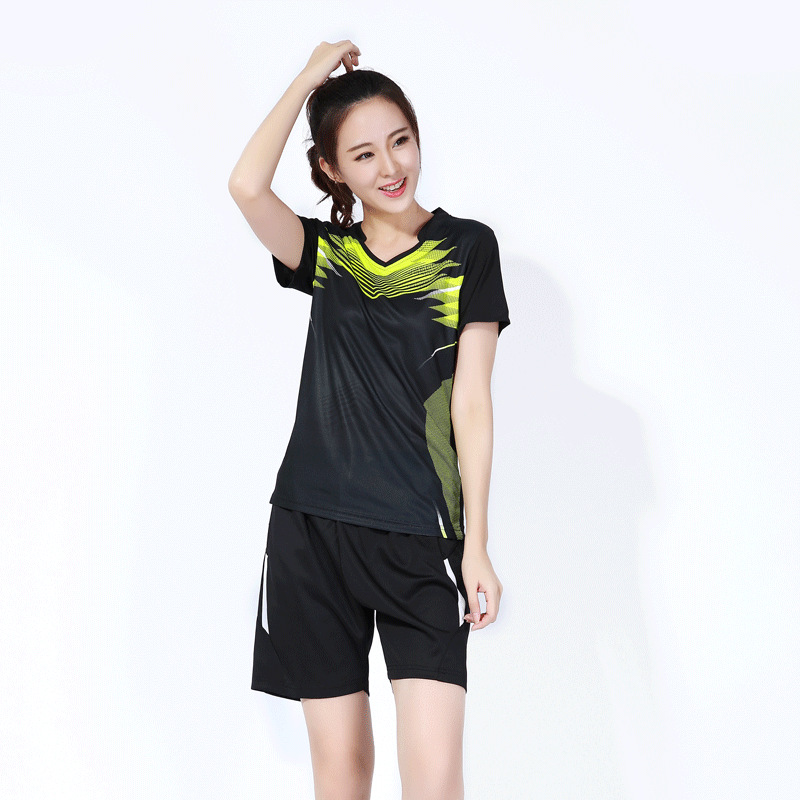 New Style Quick-Dry Badminton Clothing Set Men And Women V-neck Short Sleeve Summer Volleyball Tennis Ping Pong Customizable Pri